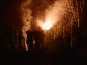Ohhhh yeahhhh, home-made lightworks and flares!!! They were actually pouring gunpowder inside a thick steel cylinder - cannot believe I forgot to develop that photo, oh well - then hammering onto a thinner cylinder to compress it and then, firing it up while holding it, crazy, fun